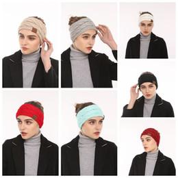 Wholesale Knitted Headbands Wholesale - CC Knitted Women Stretch Twist Headbands 10 Colors Turban Girl Head Band Crochet Winter Warmer Wide Ear Hairband Hair Accessories OOA4145