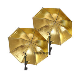 "2019 cámara más amable 2pcs Selens 84cm / 33 ""Gold Black Umbrella Lighting Sombrillas softbox 2in1 kit para fotografía"