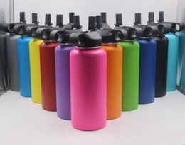Wholesale water bottle lid straw - 13 Colors 18oz 32oz 40oz Water Bottle Vacuum Insulated Stainless Steel Sport Bottle Wide Mouth Big Capacity Bottle with Straws lids