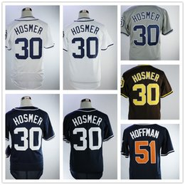 Wholesale Majestic Throwback Jerseys - 30 Eric Hosmer 51 Trevor Hoffman Diego Padre Majestic Authentic Navy White Throwback Player Flex Base Team Jerseys