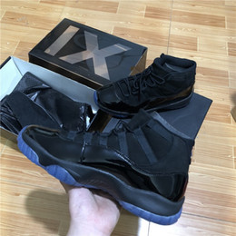 Wholesale Prom Shoes Size 11 - Double box Top quality Real Carbon Fiber 11 Mens Basketball Shoes PROM NIGHT BLACKOUT 378037-005 size 8-13 Men Athletic Sneakers