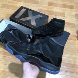 Wholesale carbon fiber shoes - Double box Top quality Real Carbon Fiber 11 Mens Basketball Shoes PROM NIGHT BLACKOUT 378037-005 size 8-13 Men Athletic Sneakers
