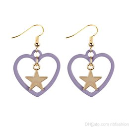 Wholesale korea sweet girls - Wish New Pattern And South Korea Original The Night Wind Lovely Sweet Girl Control Hollow Out Spray Paint Love Five-pointed Star Earri