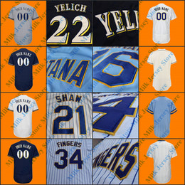 Wholesale Polyester Bobs - Milwaukee Throwback Jersey Bud Selig Paul Molitor Cecil Cooper Robin Yount Hank Aaron Bob Uecker Prince Fielder Rollie Fingers Bob Uecker