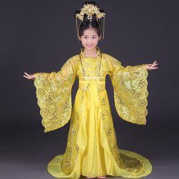 2019 kind chinesisch tanz kostüm Königliche Kinder Kaiserin Wu Zetian Kostüm Mädchen Chinese Traditional Dance Kleidung Kinder Tang Dynastie Prinzessin Hanfu Schwanz Kleidung günstig kind chinesisch tanz kostüm