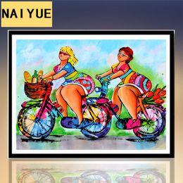Cruces de resina para online-40 * 30 CM DIY punto de Cruz de Dibujos Animados Sexy Fat Girl Full Resin ronda 5D Diamantes Pintura Para la Decoración Del Hogar Artesanías Popular 9ny BB