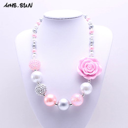 Wholesale Chunky Necklaces For Babies - whole saleMHS.SUN Newest Design Grey+Pink Flower Kid Chunky Necklace Bubblegum Bead Baby Girl Chunky Necklace Jewelry For Toddler Children