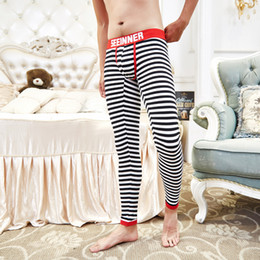 Wholesale Thin Striped Leggings - Hot Men's SEEINNER Cotton warm Leggings Sleep Bottoms Sexy Stripe thermal underwear Thin elasticity pants Man Gay Tight trousers