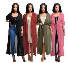 Wholesale Women Sheer Shirts - 2018 new arrival women Fashion Long Sleeve Cardigan Chiffon Shirt Jacket women casual dresses