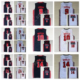 Wholesale College Basketball Usa - 1992 USA Dream Team One 8 Scottie Pippen Jersey 14 Charles Barkley 11 Karl Malone 15 Magic Johnson 7 Larry Bird Basketball Jerseys College