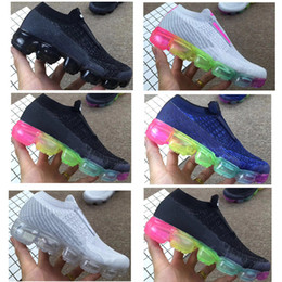 Wholesale White Leather Toddler Shoes - Laceless vapormax 2018 Platinum Kids running shoes Grey white Rainbow Infant & Children Sports shoes toddler trainer boy & girl sneaker