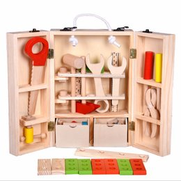 Wholesale Wood Rulers - Wooden saw Maintenance Box Wooden spanner ruler pliers screw driver Toy Nut Combination Gift Kids Multifunctional Tool Toy Set