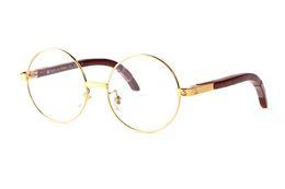 2019 óculos graus Moda Earstems De Madeira Óculos de Armação Redonda Dos Homens Das Mulheres Óculos de Leitura Quadros Óculos Branco Buffalo Chifre Óculos Nenhum Grau lunettes femme desconto óculos graus
