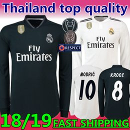 2019 New season  10 MODRIC Real Madrid Away Long sleeve Soccer Jersey 18-19  The third Marcelo  20 ASENSIO ISCO Coral red Football uniform 9afff642a