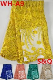 Wholesale wholesale lace fabric for sale - High quality hot sale nigerian lace fabrics with stones 5yards african french lace fabric yellow african lace fabric for wedding dress WH-A9