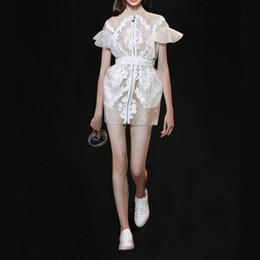 Bordado vestido gaze on-line-Pista nova moda de design das mulheres gola curta alargamento manga zíper frontal gaze rendas bordados faixas florais cintura fina vestido curto