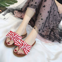 Wholesale stripe loafers - 2018 Hot Sell Womens Spring Summer Bowknot Flat Shoes Stripe Slippers Beach Shoes Sandals Flip Flops Open Toe Loafers