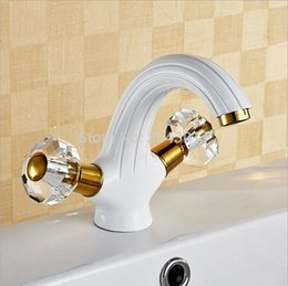 Wholesale Swan Sink Faucets - Crystal Handle Bathroom Carving Faucet Deck Mounted Dual Handle hot and cold basin swan sink taps ZR577