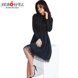 Wholesale Lace Skater Dress Sleeves - SEBOWEL 2017 New Autumn Elegant Long Sleeve Party Dress Women High Neck Lace Hemline Skater Dresses Femme Black Vestidos S-XL