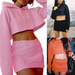2019 vestidos de color rosa lápiz señoras 2PCS Mujeres Señoras con capucha de manga larga con capucha Blusas + bolsillo Lápiz vestido de falda de algodón conjunto negro naranja rosa vestidos de color rosa lápiz señoras baratos