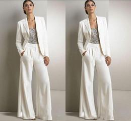 Nouveau Bling Paillettes Ivoire Blanc Pantalon Costumes Mère De La Robes De Mariée Formelles Smokings En Mousseline De Soie Femmes Parti Porter Nouvelle Robes De Soirée De Mode De Mode ? partir de fabricateur