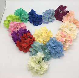 Wholesale Pink Flower Wall - wholesale Free Shipping 50pcs lot silk Hydrangea artificial flower Handmade silk Rose Flower Heads For Wedding Decoration flower-wall 16c