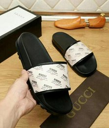 Wholesale rubber feet adhesive - aa good quality men's designer slippers Genuine Leather clip feet flip style European lines style Shoes luxury Medusa brand sandals with box