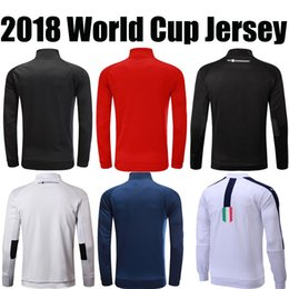 Wholesale France Soccer Jacket - GERMANY ENGLAND USA ITALY FRANCE HARRY KANE BLACK football futball 2018 world cup jerseys soccer jacket outdoor training hoodie top quality