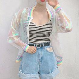Wholesale Laser Hologram - Wholesale- Harajuku Summer Women Jacket Laser Rainbow Symphony Hologram Women Coat Lridescent Transparent Bomber Jacket Sunproof D1