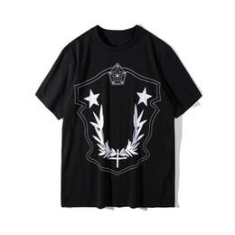 Черные тройники белые звезды онлайн-2018 новый летний хип-хоп мода мужчины женщины kanye оливковые листья звезда патч печати футболка шов хлопок мужской топы Tee черный белый