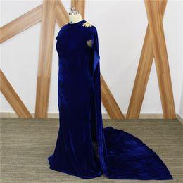 2019 imagens de vestidos de veludo Elegante Azul Royal 2018 Vestidos de Baile Longo Personalizado Plus Size Ouro Seda Veludo Sereia Longo Manto Africano Formal Vestidos de Noite Imagem Real desconto imagens de vestidos de veludo