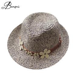 2017 wide brim floppy Chrysanthemum belt jazz hats for Women beach summer  sun straw dad Hats flat plastic sun visor caps. b4a778d0a24e
