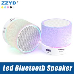 Altavoz bluetooth led online-ZZYD Wireless Led altavoz Bluetooth A9 mini altavoces portátiles compatibles con tarjeta SD TF reproductor de música para iPhone X Note8 teléfono inteligente