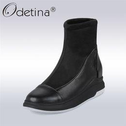 Wholesale Comfortable Platform Boots - Odetina 2017 Fashion Hidden Heel Ankle Boots Slip on Ladies Comfortable Platform Snow Boots Women Winter Warm Shoes Big Size 43