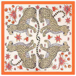 stole patterns Promo Codes - Women H Four Leopard Print Scarf Luxury Animal Pattern Orange Shawls Womens Silk Stole Foulard Femme Big Square Scarfs 110*110