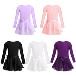 Wholesale Tutu Ballet Leotard Dresses - Kids Girls Team Basic Long Sleeve Leotard with Skirt Kid Dance Ballet Tutu Dress Costume