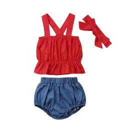 2019 jeans vermelho bebê 0-4Y Criança Do Bebê Dos Miúdos Da Menina Sem Mangas T-Shirt Vermelha + Shorts Jeans Sólidos + Headband 3 PCS Outfits Set Roupas Casuais desconto jeans vermelho bebê