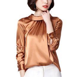 4e02fb50515 Discount ladies satin blouses shirts - Elegant plus size satin shirt women  2018 autumn long sleeve