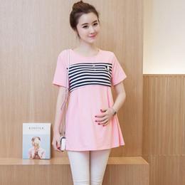 Pflegekleidung tragen online-OkayMom koreanische Mutterschaft Krankenpflege T-Shirt Schwangerschaft Krankenschwester Wear Kleidung Sommer Baumwolle Stillen Top Tees Kleidung für Schwangere