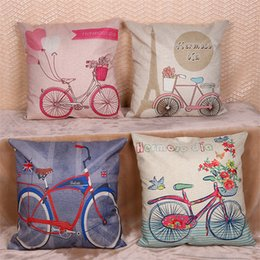 Wholesale Free Cushion Cover Patterns - Bicycle Floral Pattern Linen Cushion Covers Home Office Sofa Square Pillow Case Decorative Pillow Covers 45*45cm DHL free HPC57
