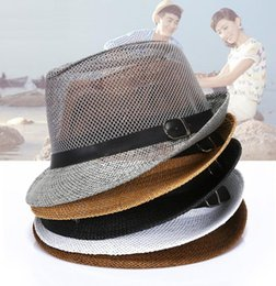 d19f1c79ba1 Fashion 6 Colors Women Summer Linen Sun hat Boho Beach Fedora hat Sunhat  Trilby Men Panama Hat Wide Brim Hats