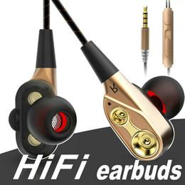 Wholesale s3 hd - 3.5mm HiFi sport earphone Dual-Dynamic Quad-core Speaker In-ear earphone Flexible Cable Anti-wrap earphones with HD Microphone OM-S3