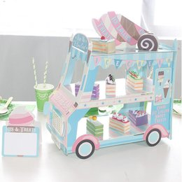 Wholesale Cake Icing Decor - 1pcs Ice Cream Van Stand Cars Display Stand Baby Shower Wedding Party Decor Cake Dessert Muffin Display Tray Birthday Decor