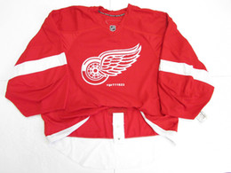 Wholesale Ice Hockey Goalie Jersey - Cheap custom DETROIT RED WINGS HOME TEAM ISSUED Stitched JERSEY GOALIE CUT