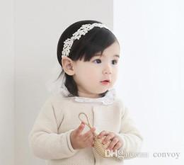 Wholesale cute baby korean - Baby Girls Headbands Korean Cute lace Pearl Princess Headwear Kids Ribbon Hairbands Children Hair Accessories Headdress KHA504