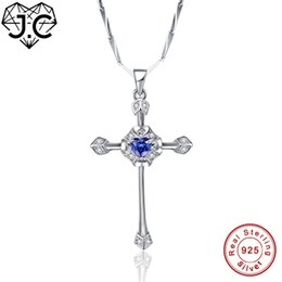 J.C Excellent Cross Design Heart Tanzanite Topaz Solid 925 Sterling Silver Pendant Fine Jewelry Top Quality Gift For Girlfriend supplier excellent jewelry от Поставщики отличные украшения