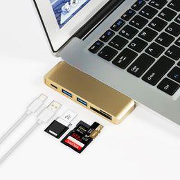 Wholesale power card reader - 5 in 1 USB C HUB Card Reader, USB Type C Hub OTG Multi USB-C Splitter + Micro USB Power Port for Macbook Air