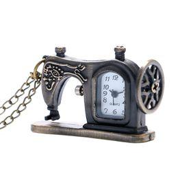 Wholesale Unique Families - Creative Mini Sewing Machine Shape Pocket Watch Slim Necklace Novel Bronze Girls Clock Unique Gifts for Family Children relogio