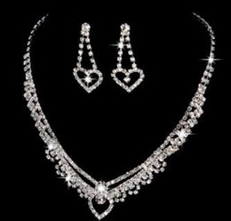 Wholesale Silver Diamond Heart Choker Necklace - 2018 New fashion necklaces love Set auger earrings Combination suit statement necklaces choker Combination suit Free shipping 56