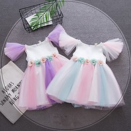 Wholesale Fairy Dresses Girls - Baby Rainbow dress 2018 summer princess fairy Tulle dress kids sleeveless flower mesh lace girls Dresses 17 colors Boutique Clothing C4091